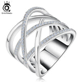 Big Size Silver Ring with Micro Paved  High Polished White Gold Plated Ring for Women Party