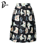 2016 Cute Cat Print Elastic High Waist Skater Vintage Pleated Midi Skirts Ball Gown Knee-Length Skirt Zipper 3 Colors
