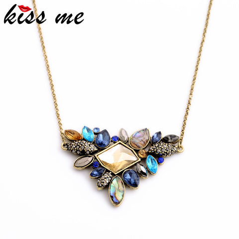 Exquisite Rhinestone Pendant Necklace  Newest Fashion Thin Chain Collar Necklace Jewelry