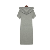 Fashion Casual Print Cotton Hood Bodycon Loose Dresses Knee Summer Sports Dress High Quality