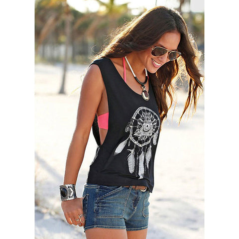Fashion Women Summer Vest Top Sleeveless Shirt  Dream Catcher Pattern Casual  T-Shirt Hot Selling Clothes