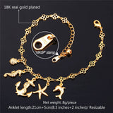 Foot Jewelry Gold Anklet For Women 2016 Summer Jewelry Ocean Cute Platinum / 18K Real Gold Plated Ankle Bracelet On A Leg