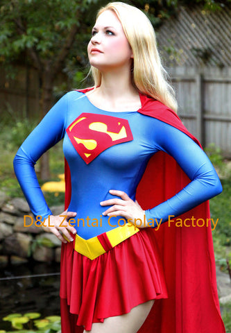 Sexy Adult Superhero Classical Supergirl Costume Halloween Costume Lycra Spandex Bodysuit Women Costume SG102