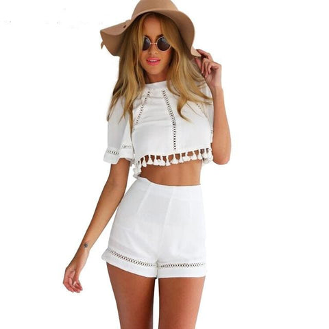 2016 Women's Tops And Pants Two Piece Outfit Fashion White Crop Top Blouse Shirt&Short Pant
