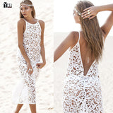 2016 Hot sale New European and American style Women Hollow out long Dress  Fashion Sexy Summer beach Party Dress