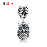 High Quality Tibetan Silver Blue CUBIC ZOWL 925 Charm Pendant Fit Pandora Bracelet Necklace Original Jewelry