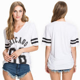 High Quality Top Fashion American Chicago Baseball Shirts V Neck Number 86 Sport Loose Top Tee T Shirt Women Clothing