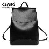 Kavard Famous Brand Backpack Women Backpacks Solid vintage School Bags f black leather backpack