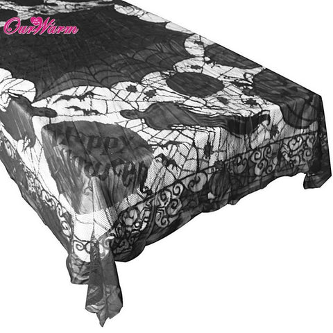 Lace Black Spider Web Tablecloth Tablecover Rectangle 60*80inch Halloween  Party Decor