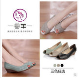 2016 summer shoes women genuine leather casual wedges shoes sandals women's pumps women sandals for women