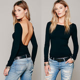New Arrival Fashion O Neck Women Sexy Tshirt Elegant  Back Naked Cropped Sexy Tops Suit Women's Female Clothes Summer Tops