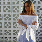 New Fashion Off Shoulder Blouse Sexy Slash neck Long Sleeve Bow Blouses And Shirts Women Loose Tops Summer Blusas Plus size