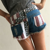 New Fashion Summer Style Women Fashion Denim Shorts Holes America Flag Short Jeans Female Girls Clothing Accessories