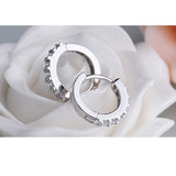 New Single Row Simulated Diamond Sterling Silver Women Fashion Jewelry Earrings Girl Wedding Party