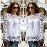 New White Fashion Women Sheer Sleeve Embroidery Top Blouse Lace Crochet Chiffon Shirt Plus Size