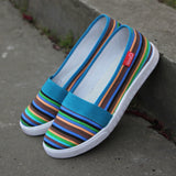 Rainbow Stripes Casual spring women moccasins soft Slip On Flats 2016 summer woman canvas shoes style