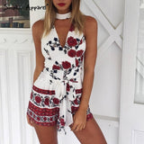 red floral print elegant jumpsuit romper Summer style halter short playsuit Women bow beach sexy overalls