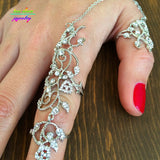 2016 New Hot Vintage 18K Gold/Platinum Crystals Flower Full Finger Ring Armour Knuckle Ring Linked Rings For Women