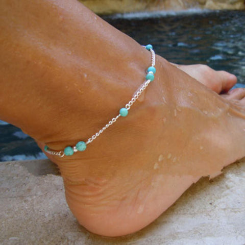 Turquoise Beads Silver Chain Anklet Silver Plated Ankle Bracelet Foot Jewelry for women 2015