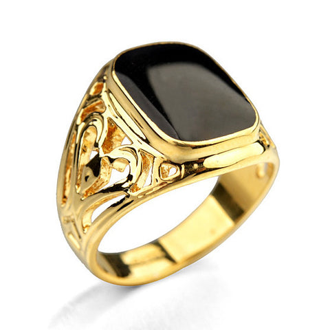Full Size 2015 New Style  Brand Fashion Jewelry Black Onyx Gold Plated Men's Rings