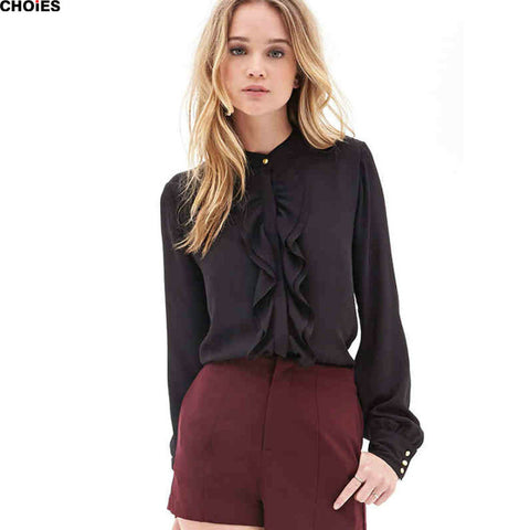 Women 2 Colors Ruffles Draped Trim Chiffon Long Sleeve Round Neck Blouse 2016 Spring Summer Style Casual Office Ladies Shirt