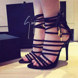 sexy open toe women sandals gladiator lace up high heel sandal boots stiletto heels strappy pumps summer shoes woman