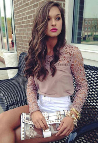 2016 New Womens Casual Long Sleeve Shirt Lace Crochet Emboriey Loose Tops Blouse