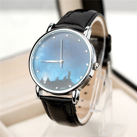 2016 New Fashion Watch Women Star and Sky Pattern Rhinestone Casual Quartz Watch Ladies Popular Leather Strap Elegant Wristwatch
