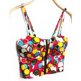 Women CropTop Sexy Zipper Floral Vintage Padded Bustier Cropped Top Bra Party  Cami Bikini Tank