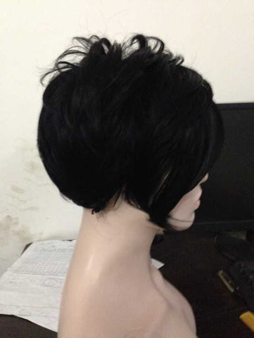 Rihanna Hairstyle Black Wig Short Pixie Cut Wigs High Quality For Women Short Wigs Heat Resistant Synthetic Wig Real shot chart