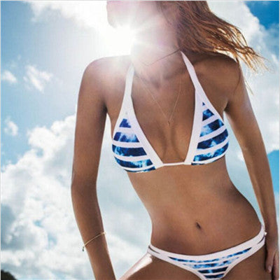 2016 Hot Design Retro Style Simple Model Brazilian Sexy Printing Swimsuit Bikinis Halter Padded Biquinis Feminino 2016 Swimwear