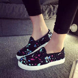 2016 Women Flats Platform Canvas Shoes Woman Comfortable Loafers Graffiti zapatos mujer chaussure femme Spring Autumn Style