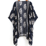 2016 Summer Beach Wear Ladies Loose Tops Navy Vintage Floral Print Half Sleeve Open Front Casual Cardigans