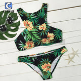 2016 New Arrival Hot Women Red Flower Green Leaves Floral Printing Tank Bikini Set