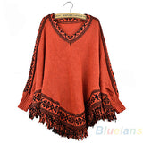 Women's Sleeve Pullovers Tassels Hem Cloak Poncho Tops Knitting Sweater Coat