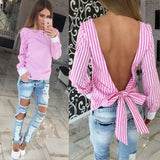 Women Sexy Bowknot Backless Striped Blouses Shirts Long Sleeve O neck Blouse Women Bandage Novelty Female Tops Plus Size