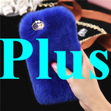 I6 / Plus / SE 5s Retro Genuine Rabbit Fur For Iphone 6s Case Diamond Hole Case Bright Rhinestone Girly Warm Hand For Iphone 6S