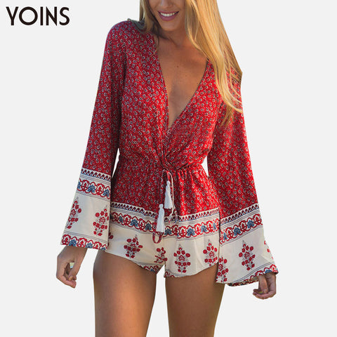 2016 New Boho Printed Women Jumpsuit Sexy V-Neck Romper Long Sleeve Bodysuit Tie Waist Rompers XXXL Overalls Beach Wear