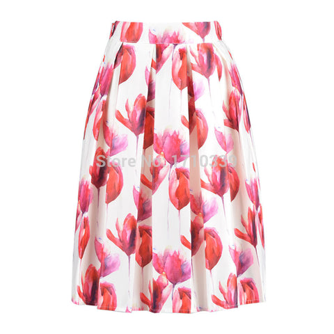 DayLook summer fashion a line White printing Floral Print High Waist Midi pleated Skirt