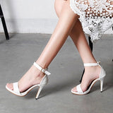 Modern Stylish Sexy High Heels Open Toe High-heeled Shoes Sandals Black White