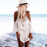2016 Women Casual Strap Lace Chiffon Party Playsuit V-neck Half-sleeve Rompers White Summer Loose plus size Jumpsuit