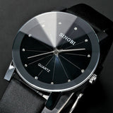 Trendy Classic  men Round Dial Analog dress women watches Quartz Watch with Faux Leather Strap (