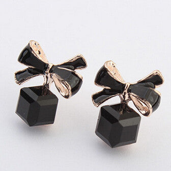 The  Fashion 2016 Chic Shimmer Plated Gold Bow Cubic Crystal Earrings Rhinestone Stud Earrings For Women