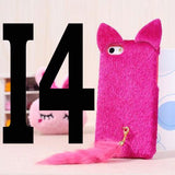6S / 5S / 4S 3D Cat Case Plush Furry Red Black Cute Pussy Cat Tail Silicone Cases Lint Back Cover for iPhone SE 6 5 4 Coque Capa