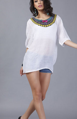 Women Clothing Summer Linen Bohemia Shirt Three Quarter Sleeve Blouses Loose Embroidered O-Neck Oversize Tops