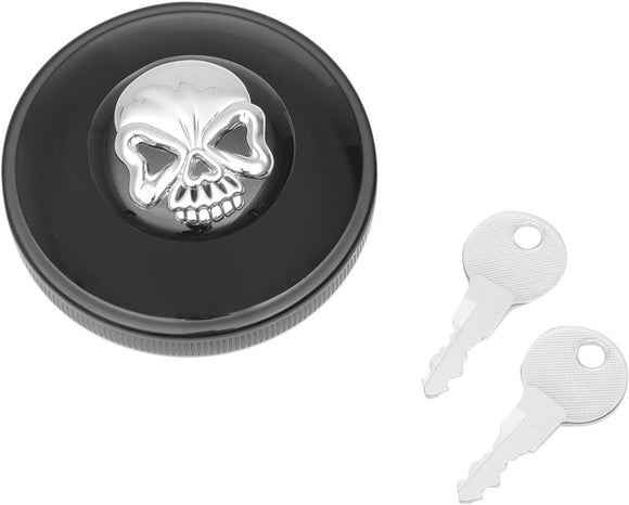 Drag Specialties Gas Cap Screw-In Locking Skull Vented Black - Part #07030690 - Hogparts UK