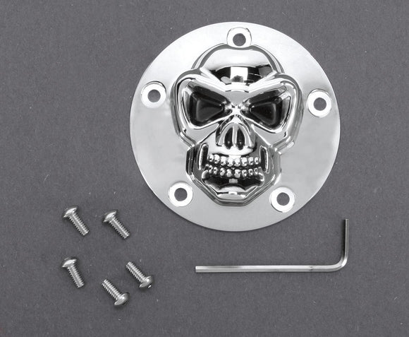 Drag Specialties 3-D Skull Point Cover Chrome 5-Hole - Part #19020181 - Hogparts UK