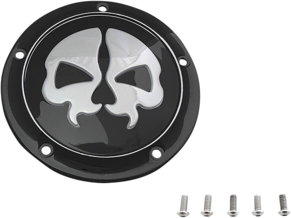 Drag Specialties Cover Derby Split Skull 5-Hole Black - Part #11070547 - Hogparts UK