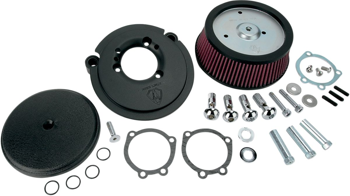 Arlen Ness Air Filter Kit Big Sucker Stage 1 With Standard Air Filter Smooth Black - Part #10100878
