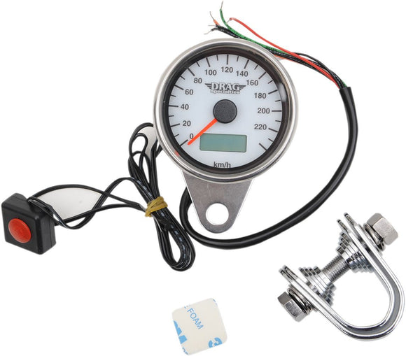 Drag Specialties 220 KMH White Face Programmable Mini Electronic Speedometer With Odometer/Tripmeter 2.37